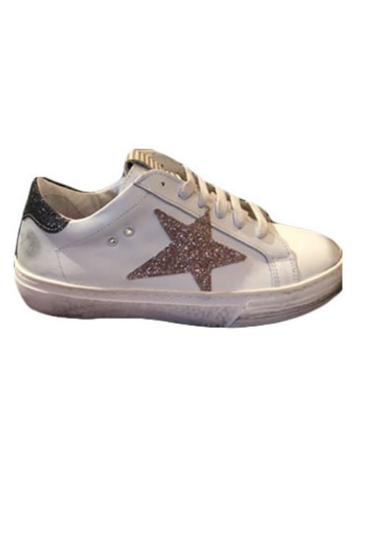 Piranha Gold Glitter Star Sneaker- White With Gold - Styleartist