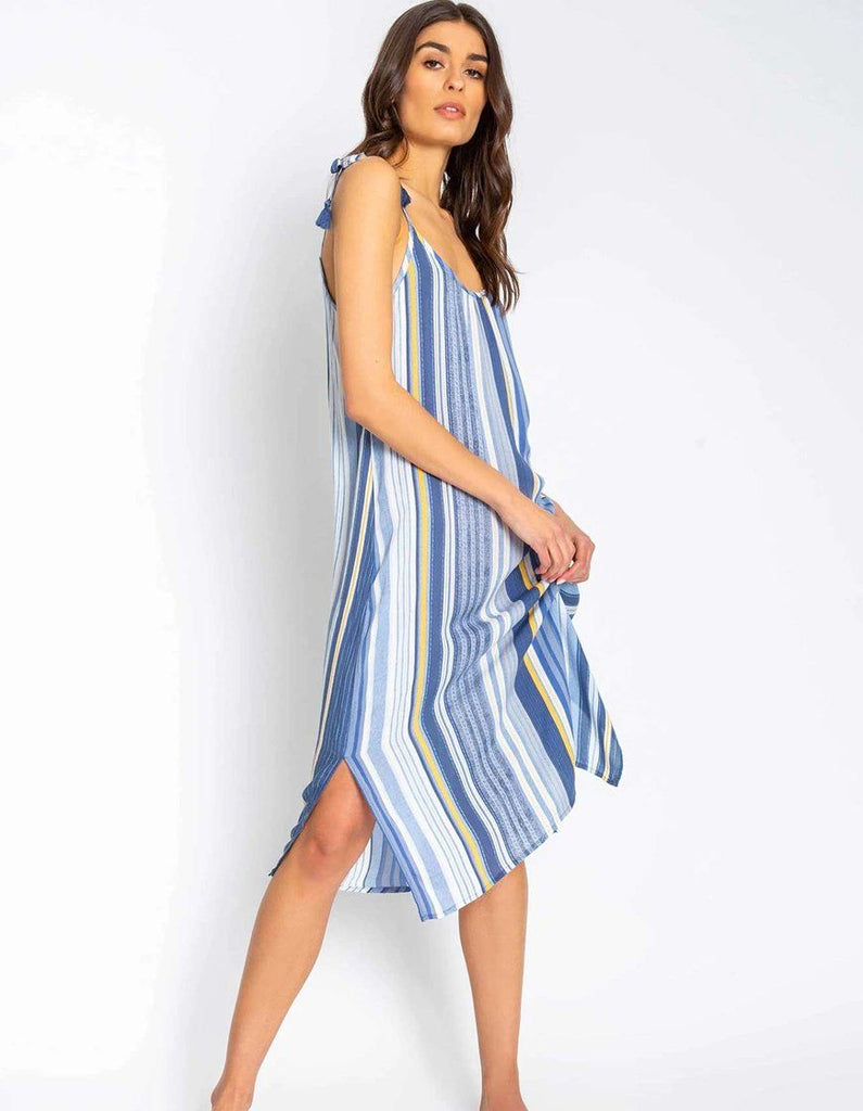 PJ Salvage Beach Blues Stripe Sundress - Styleartist