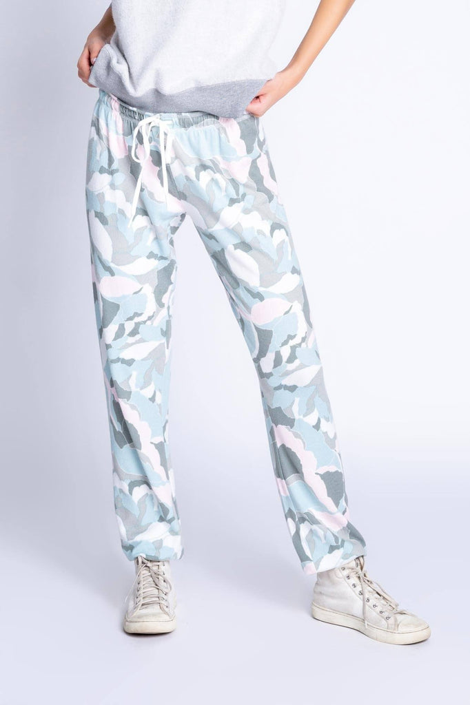 PJ Salvage Camo Bloom Banded Lounge Pant- Pastel Camo Bloom Print - Styleartist