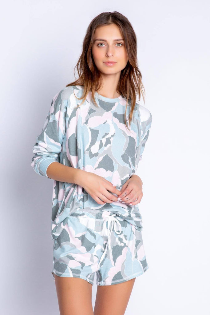 PJ Salvage Camo Bloom Long Sleeve Top- Pastel Camo Bloom Print - Styleartist