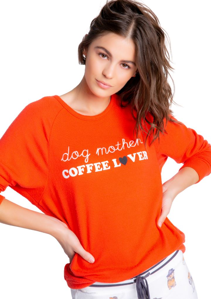PJ Salvage Coffee+ Canines Dog Mother Long Sleeve Top- Fire - Styleartist