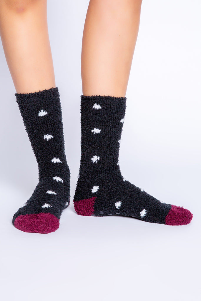 PJ Salvage Cozy Fun Socks Dots- Black - Styleartist