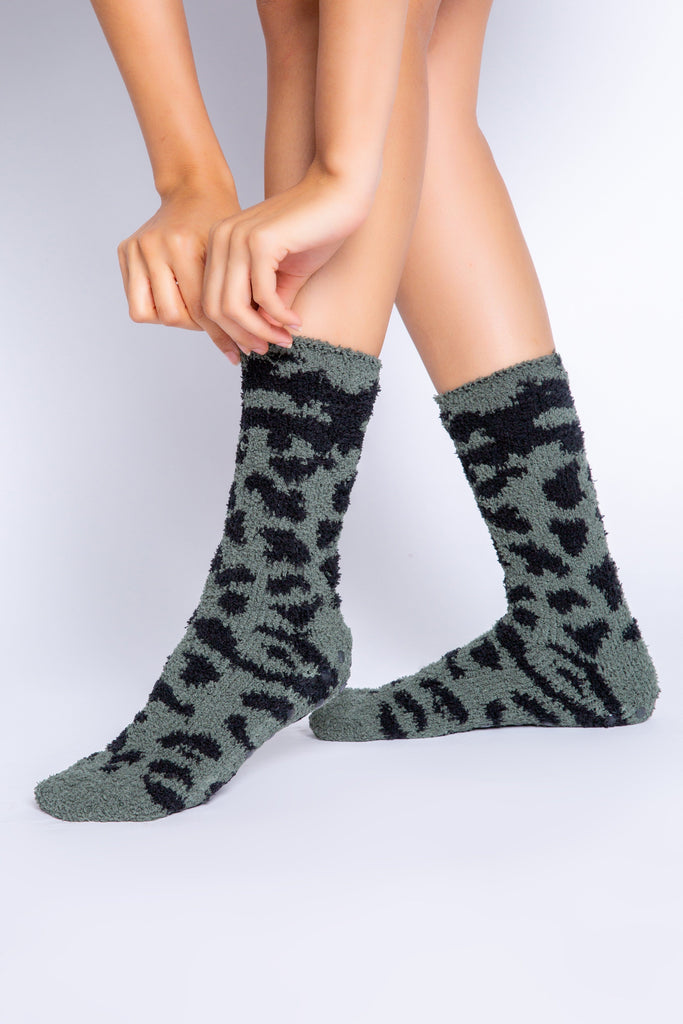 PJ Salvage Cozy Fun Socks Leopard- Olive - Styleartist