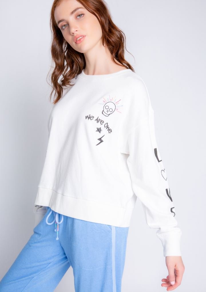 PJ Salvage Daily Doodles Long Sleeve Top- Ivory - Styleartist