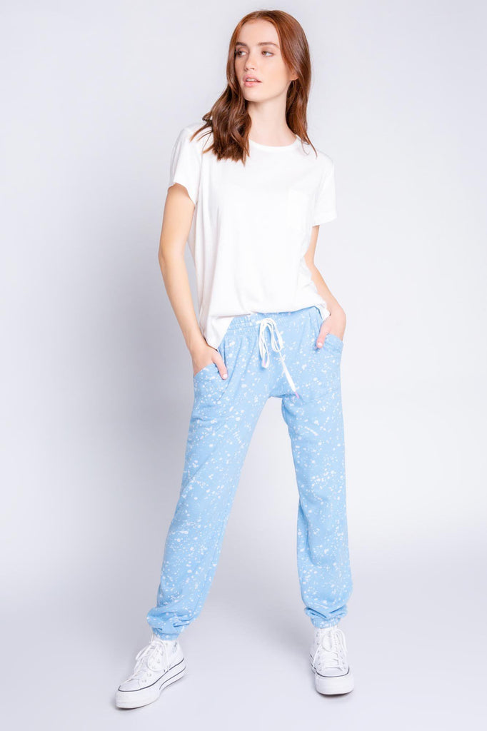 PJ Salvage Flick of a Brush Banded Pant- Blue