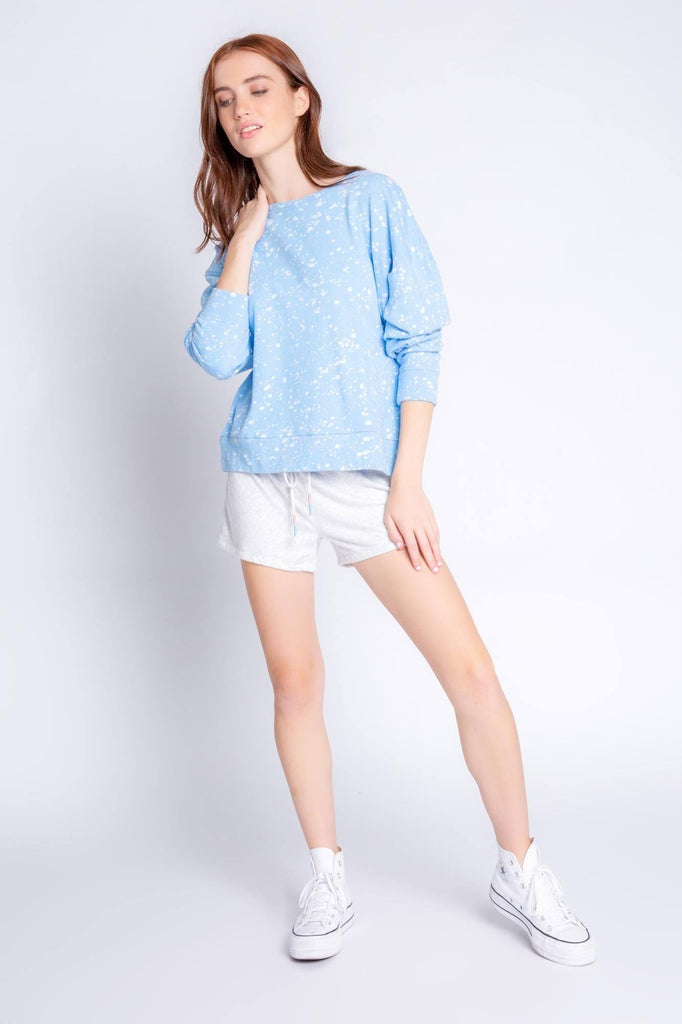 PJ Salvage Flick of a Brush Long Sleeve Top- Blue
