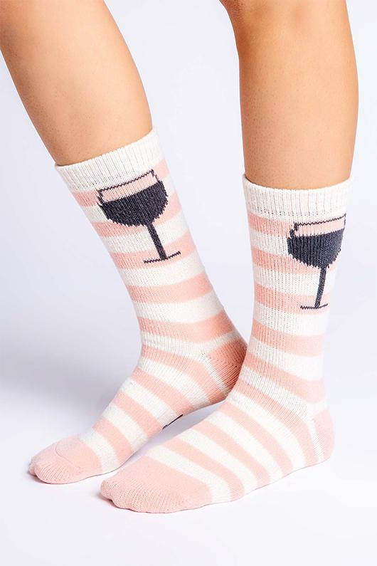PJ Salvage Fun Socks Give A Sip- Blush - Styleartist