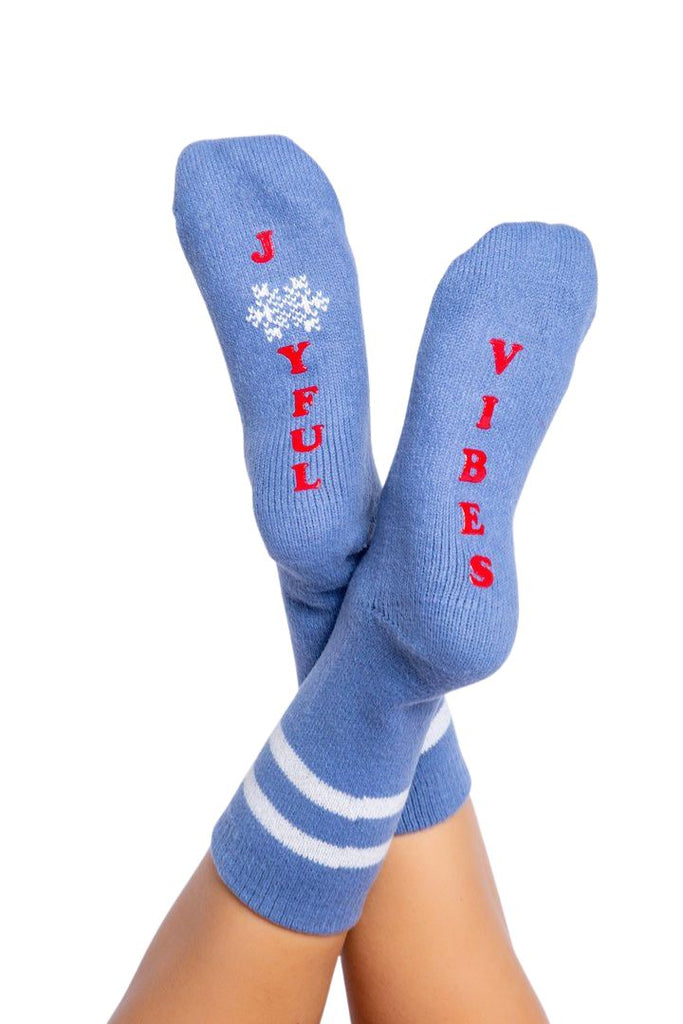 PJ Salvage Fun Socks Joyful Vibes- Denim - Styleartist