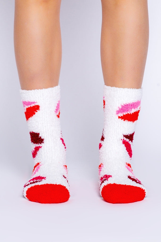 PJ Salvage Fun Socks Lip Socks- Ivory - Styleartist