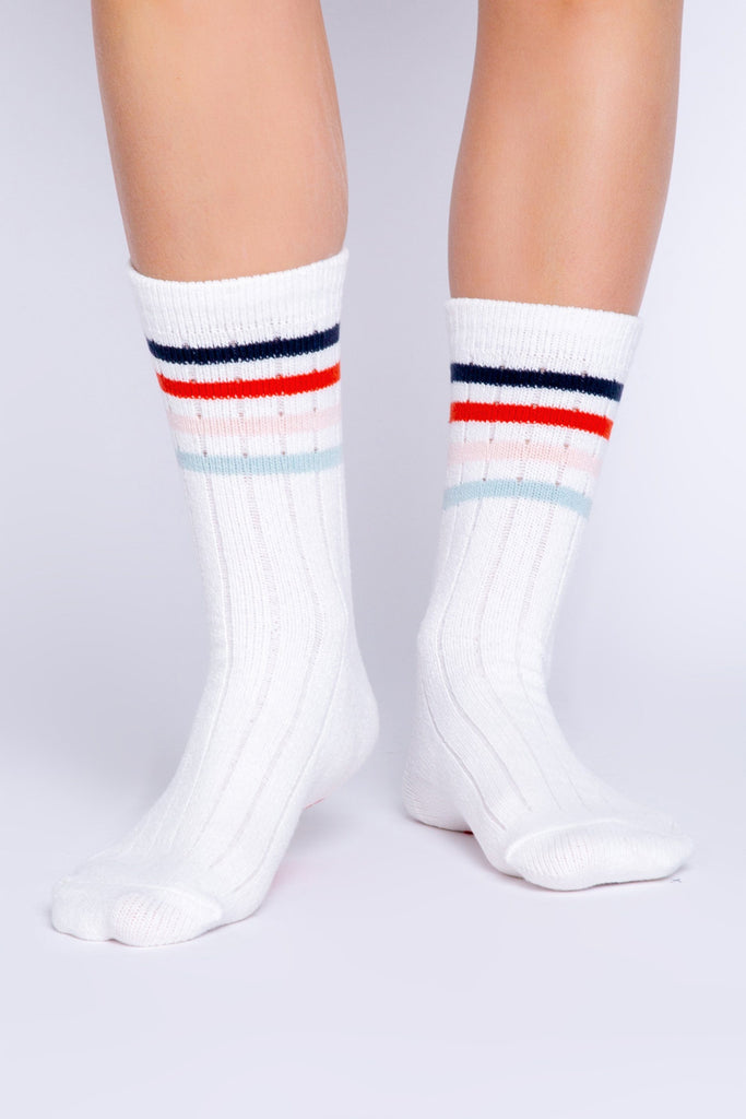 PJ Salvage Fun Socks Stripe Socks- Ivory - Styleartist