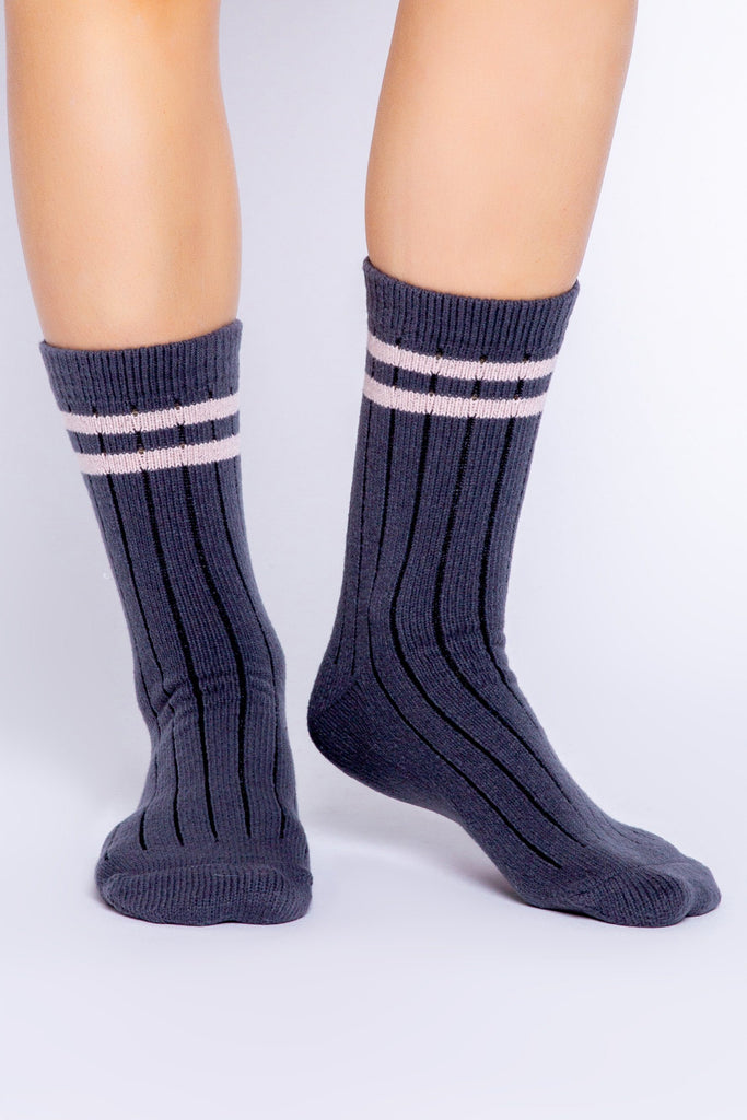 PJ Salvage Fun Socks Stripe Socks- Slate - Styleartist