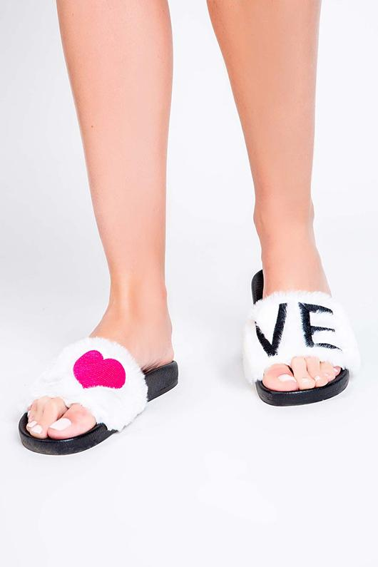 PJ Salvage Fur Slide LOVE Slipper- Ivory - Styleartist