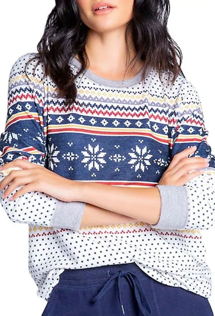 PJ Salvage Let's Get Toasty Fair Isle Long Sleeve Top - Ivory - Styleartist