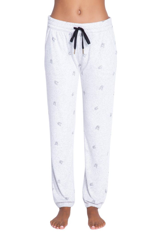 PJ Salvage Lily Rose Print Banded Pant- Heather Grey - Styleartist
