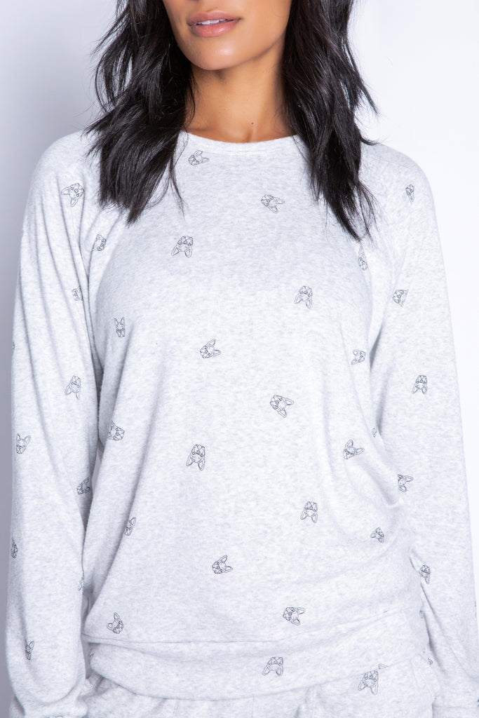PJ Salvage Lily Rose Print Long Sleeve Top- Heather Grey - Styleartist