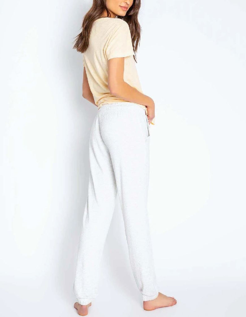 PJ Salvage Lounge Essentials Melange Banded Pant- Heather Grey - Styleartist