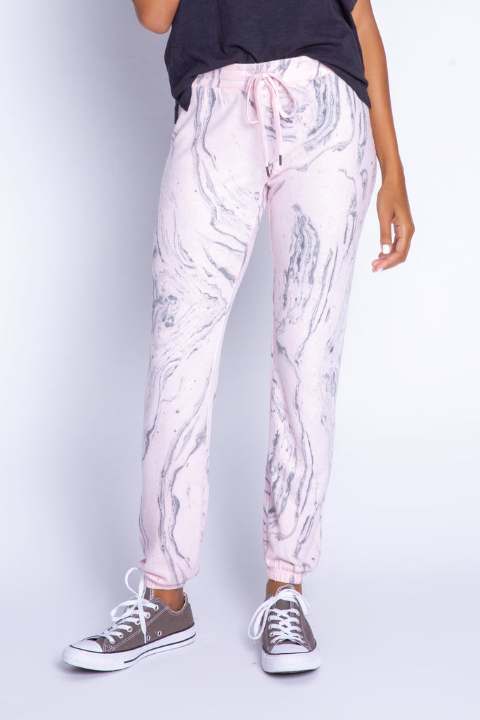 PJ Salvage Marvellous Marble Banded Pant- Pale Pink - Styleartist
