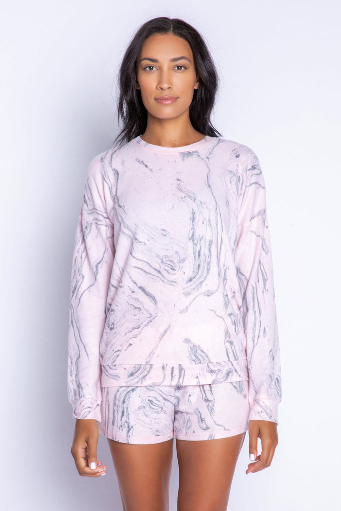 PJ Salvage Marvellous Marble Long Sleeve Top - Pale Pink - Styleartist