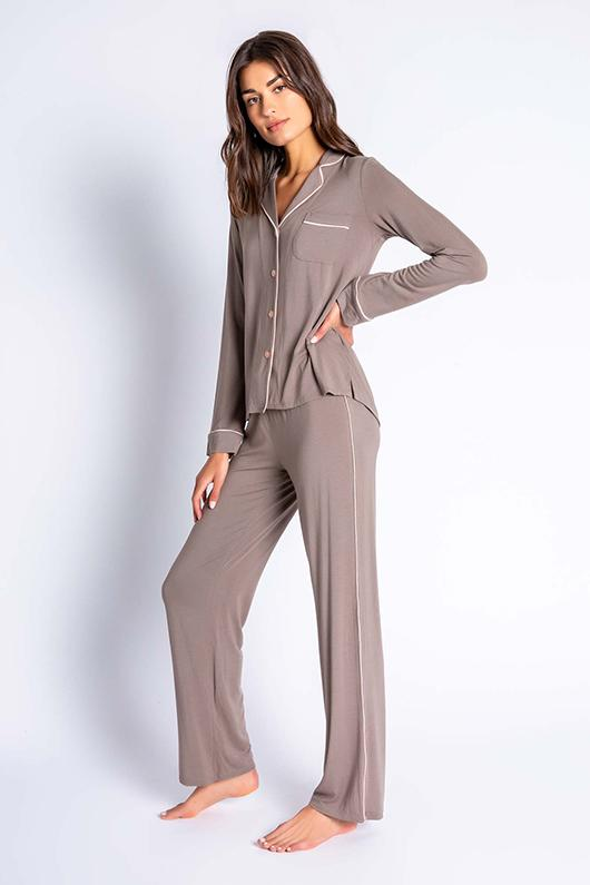 PJ Salvage Modal Basics Solid PJ Set- Cocoa - Styleartist