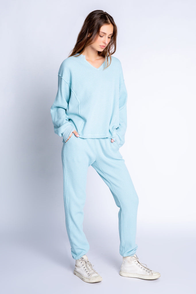 PJ Salvage Morning Waffles Solid Banded Pant- Ice Blue - Styleartist