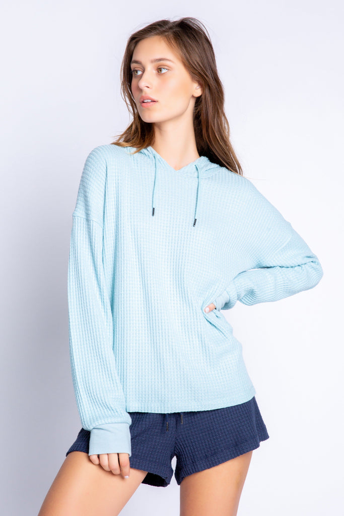 PJ Salvage Morning Waffles Solid Hoody- Ice Blue - Styleartist