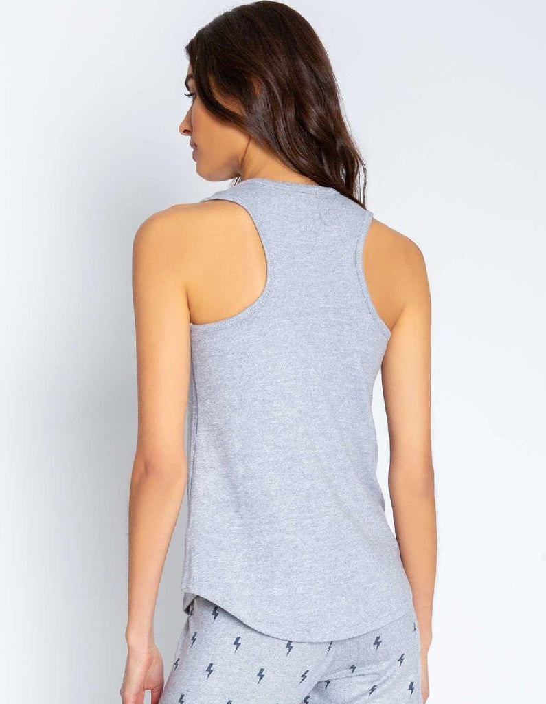 PJ Salvage Peachy Party Lightning Bolts Tank - Heather Grey - Styleartist