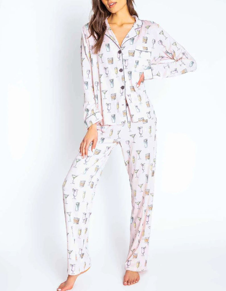 PJ Salvage Playful Prints Cocktail Set With Mask - Blush - Styleartist