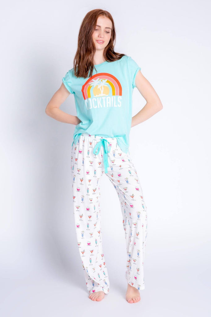 PJ Salvage Playful Prints Cocktails Short Sleeve Tee- Mint