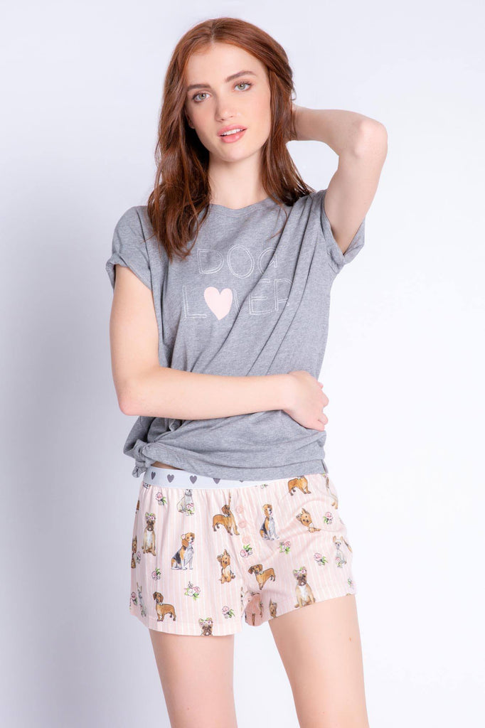 PJ Salvage Playful Prints Love Dogs Short- Blush