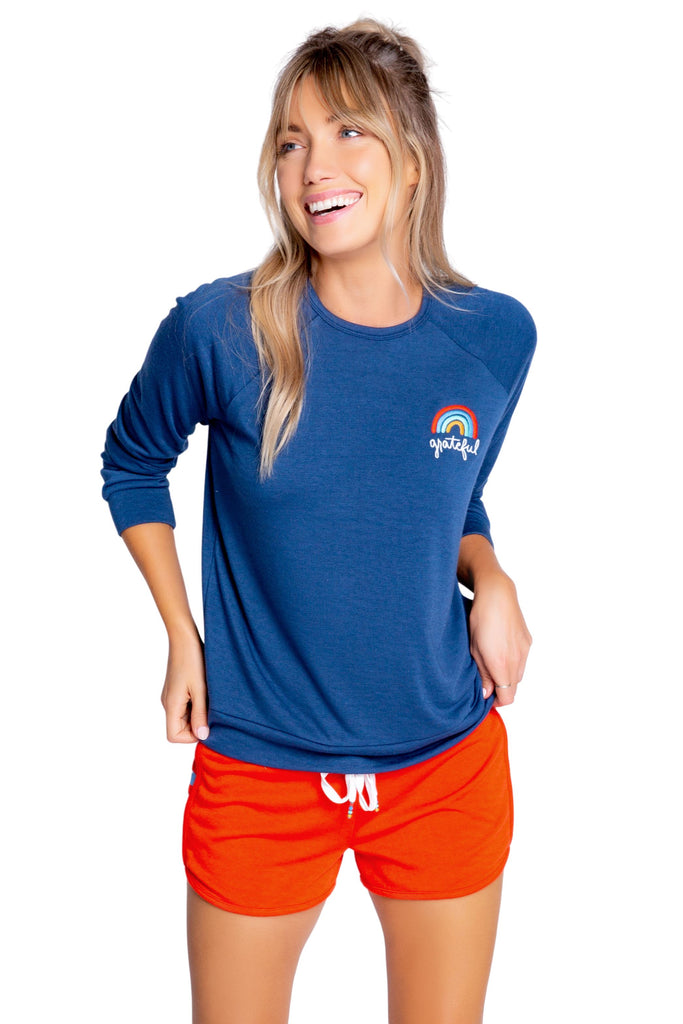 PJ Salvage Retro Lounge Grateful Long Sleeve Top- Navy - Styleartist