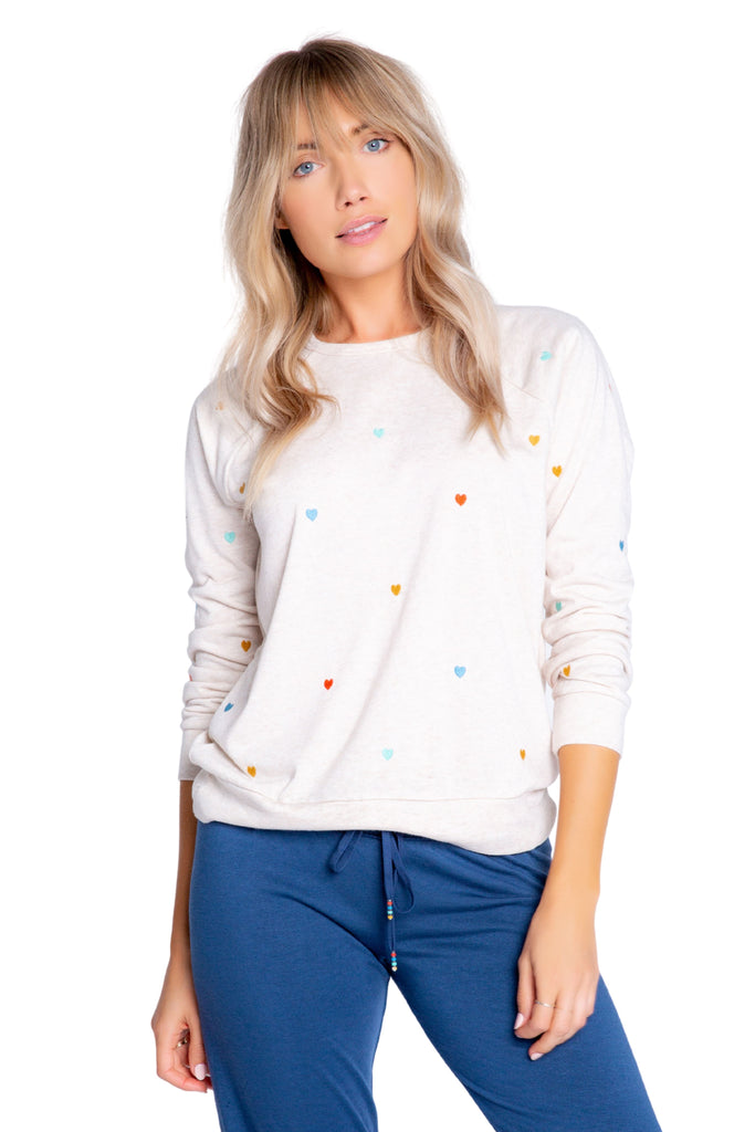 PJ Salvage Retro Lounge Mini Hearts Long Sleeve Top - Oatmeal - Styleartist