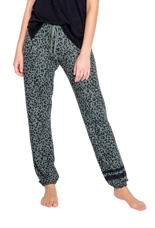 PJ Salvage Running Wild Leopard Banded Pants - Olive - Styleartist