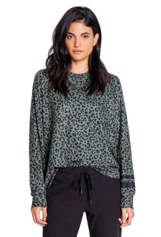 PJ Salvage Running Wild  Leopard Long Sleeve Top - Olive - Styleartist