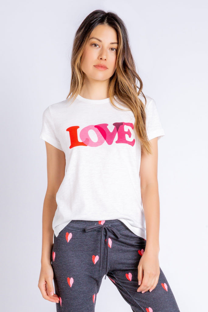 PJ Salvage Sealed with a Kiss Love T-Shirt- Ivory - Styleartist