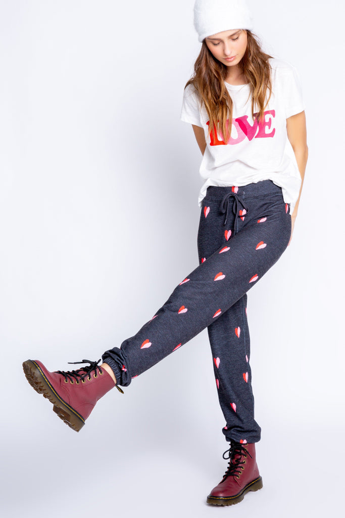 PJ Salvage Sealed With a Kiss Printed Heart Banded Pant- Dark Grey - Styleartist