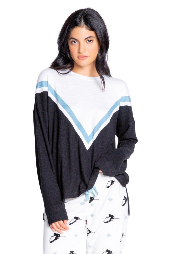 PJ Salvage Ski You Later Chevron Long Sleep Top- Black - Styleartist