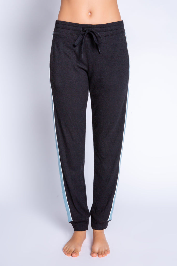 PJ Salvage Ski You Later Solid Banded Pant with Side Stripe- Black - Styleartist