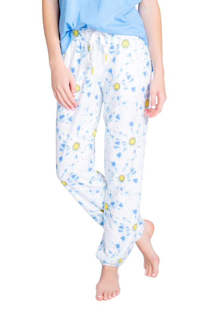 PJ Salvage Smiley Tie Dye Banded Pant- Blue
