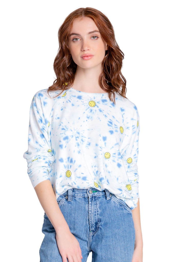 PJ Salvage Smiley Tie Dye Long Sleeve Top- Blue