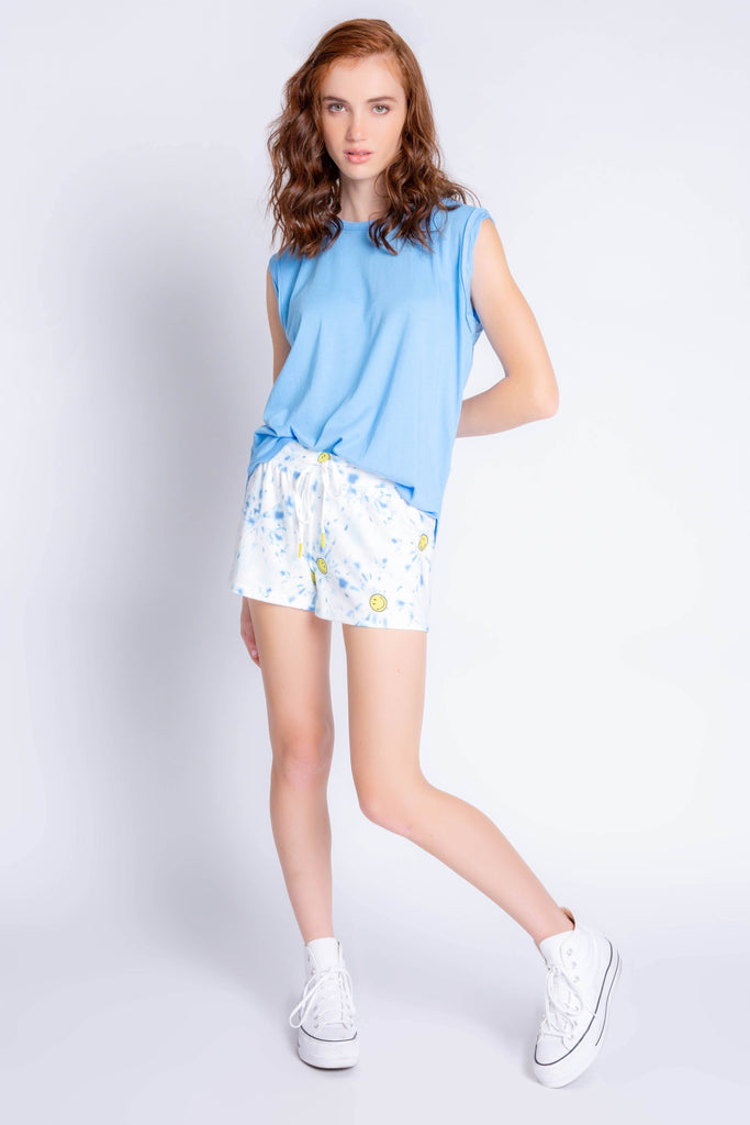 PJ Salvage Smiley Tie Dye Short- Blue