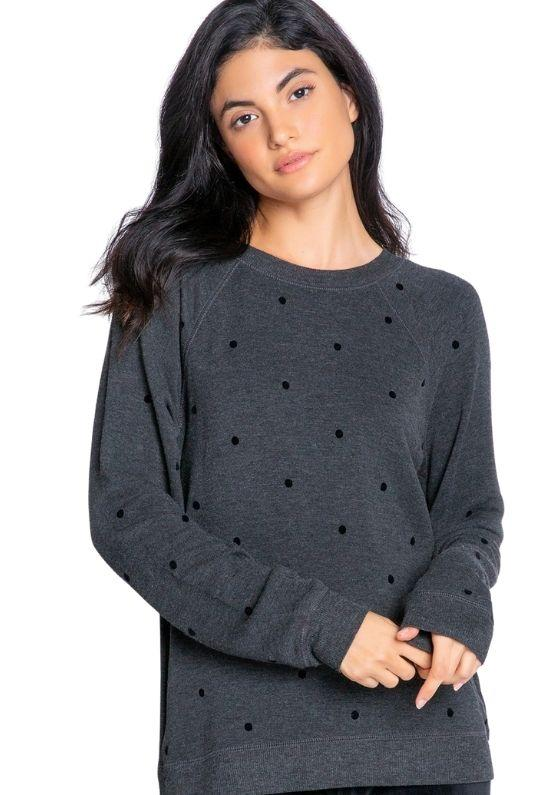 PJ Salvage Snow Dots Long Sleeve Top - Heather Slate Grey - Styleartist