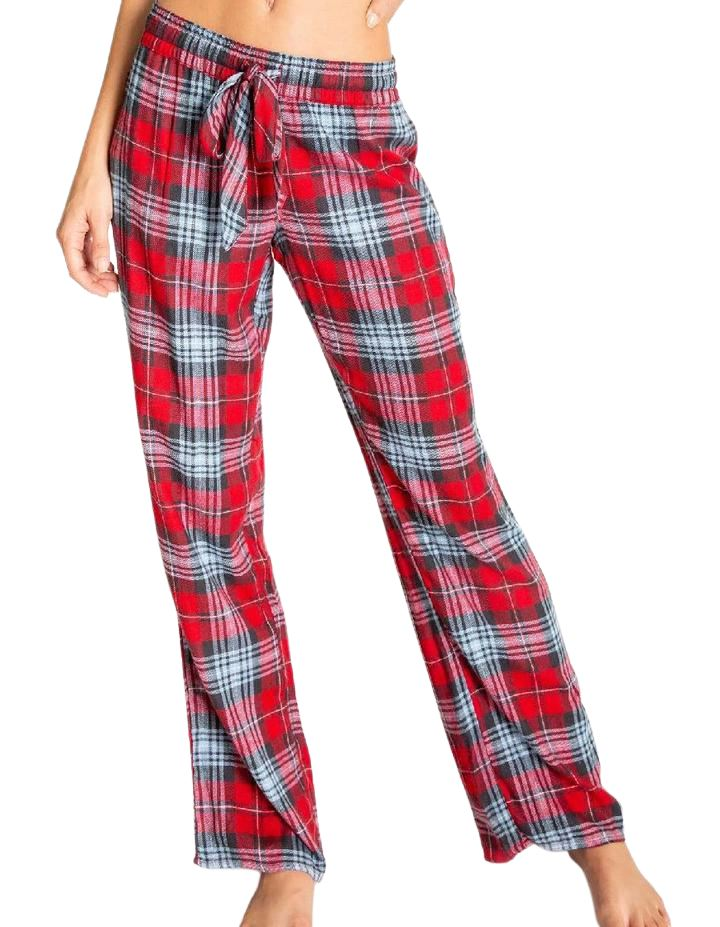 PJ Salvage Snowed in Plaid Pant - Red - Styleartist