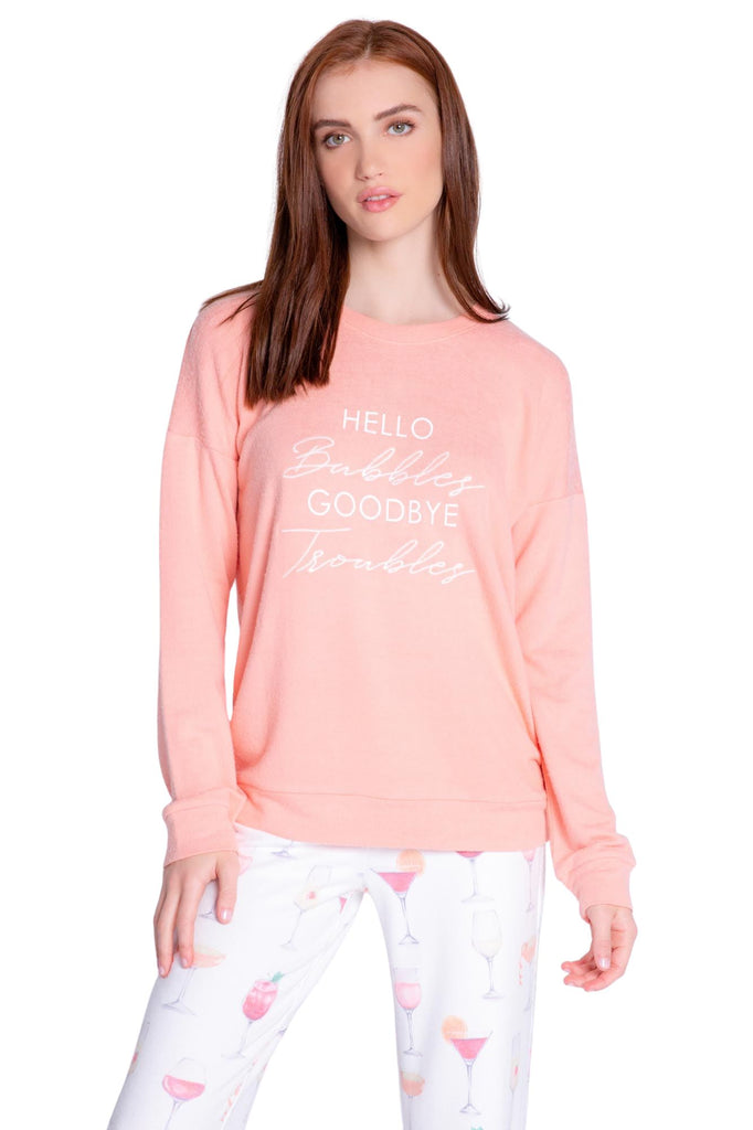 PJ Salvage Sunset Spritzers Hello Bubbles Long Sleeve Top- Coral