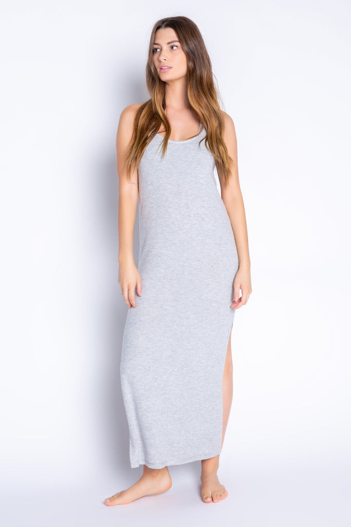 PJ Salvage Textured Basics Solid Dress- Heather Grey - Styleartist