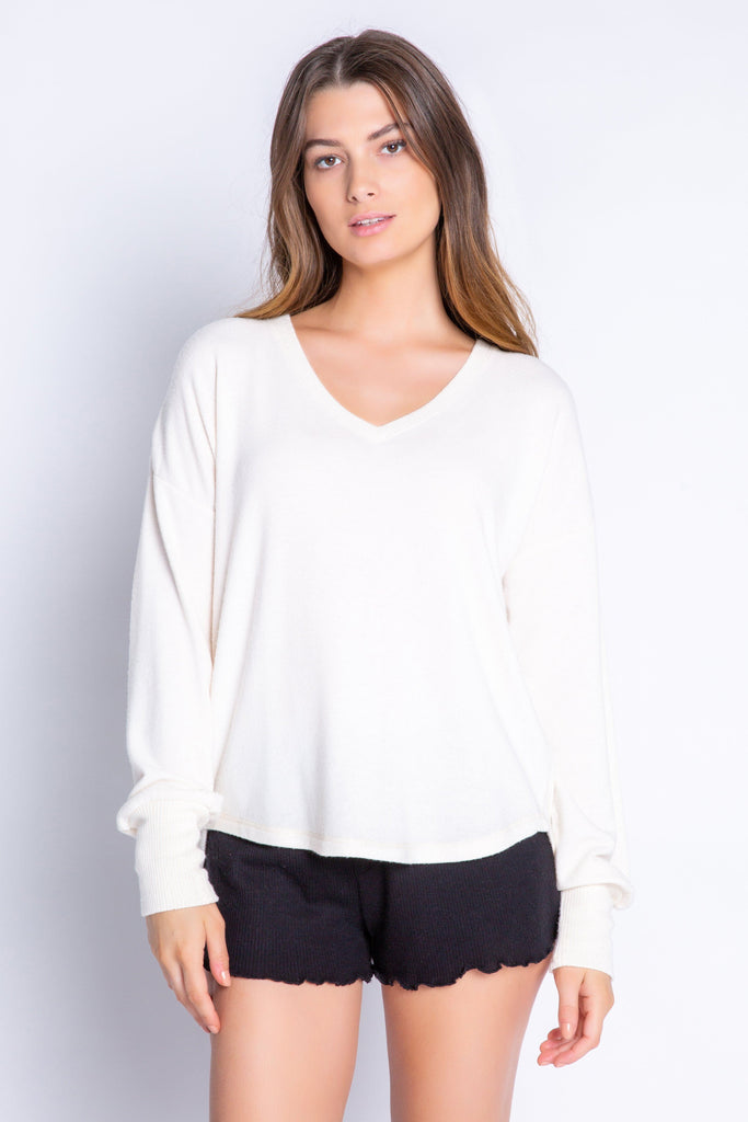PJ Salvage Textured Basics Solid Long Sleeve Top- Stone - Styleartist