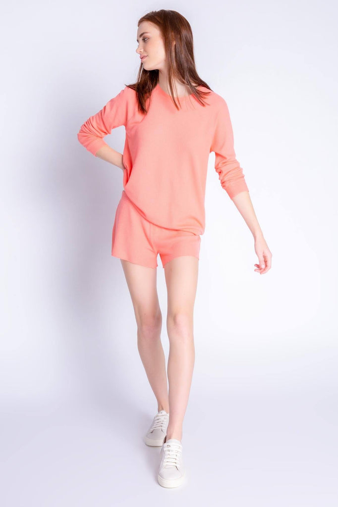 PJ Salvage Textured Lounge Solid Long Sleeve Top- Coral
