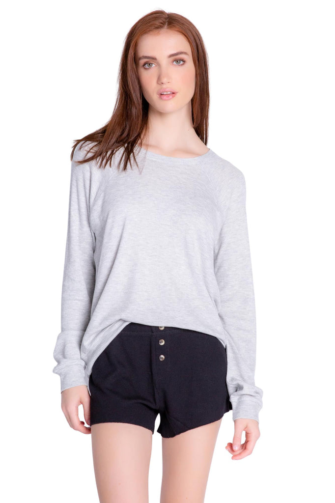 PJ Salvage Textured Lounge Solid Long Sleeve Top- Heather Grey