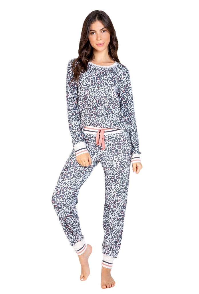 PJ Salvage Thermal Lounge Animal Print Pant - Stone - Styleartist