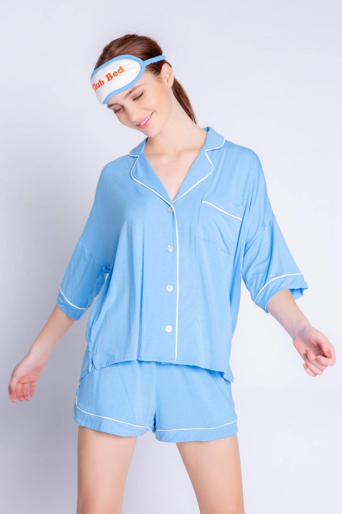 PJ Salvage Tropical Modals Solid PJ Set- Blue