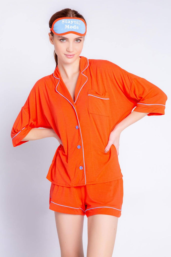 PJ Salvage Tropical Modals Solid PJ Set- Fire